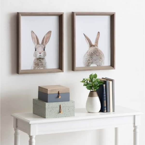 Kate and Laurel Calter Bunny Framed Print Art Set by Amy Peterson - Gray. Opens flyout.