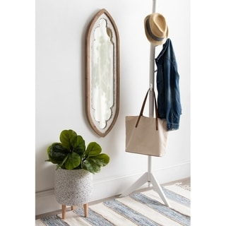 Kate and Laurel Manisha Black Wood Framed Panel Wall Mirror