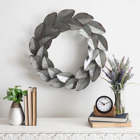 Kate and Laurel Magnolia Galvanized Metal Wall Wreath