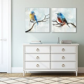 Little Blue Birds by PI Creative Art 2 Piece Canvas Print Set