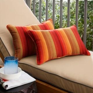 Sunbrella Red Stripe Indoor/Outdoor Lumbar Pillow, Set of 2