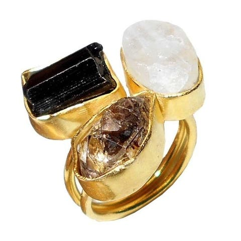 Gold-overlay Herkimer, Crystal Quartz and Smoky Quartz Ring (India)