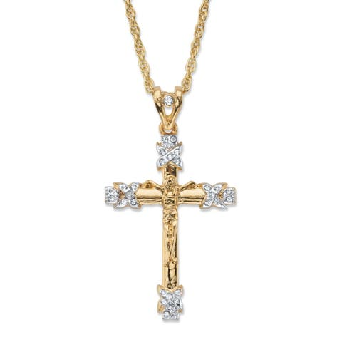 "Men's Gold Tone Cross Pendant with 24"" Chain, (32mm) Round Crystal"