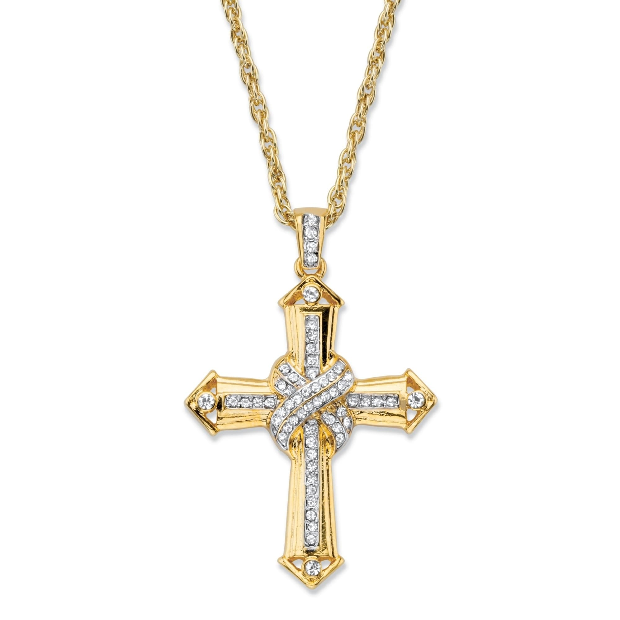 Shop Men S Gold Tone Cross Pendant With 24 Chain 38mm Round Crystal On Sale Overstock 27963633