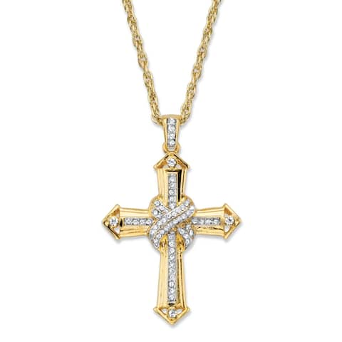 "Men's Gold Tone Cross Pendant with 24"" Chain, (38mm) Round Crystal"