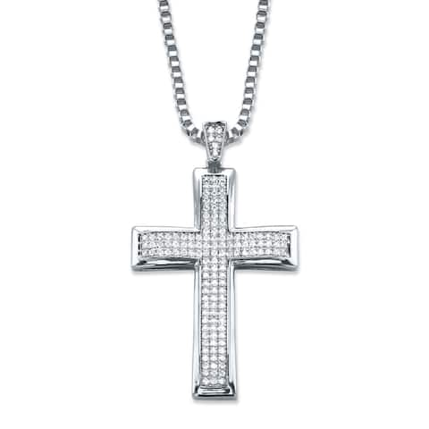 """Men's Silver Tone Cross Pendant with 20"""" Chain, (25mm) Round Crystal"""