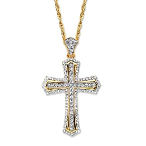 """Men's Gold Tone Cross Pendant with 24"""" Chain, (34mm) Round Crystal"""