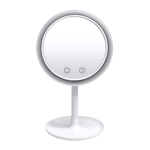 Beauty Breeze Lighted Mirror with Fan & 5x Magnification by Nubrilliance - white