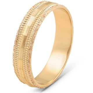 Pompeii3 10k Yellow Gold 5mm Hand Carved Faceted Brushed Ring Wedding Band Mens