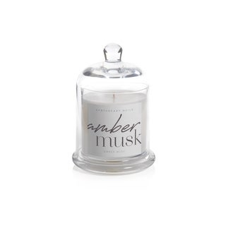 Amber Musk Scented Candle Jar with Glass Dome