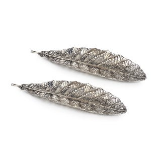 Prunus Leaf Metal Decorative Trays, Set of 2