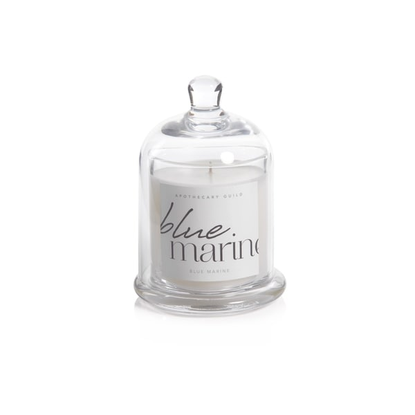 Blue Marine Scented Candle Jar with Glass Dome