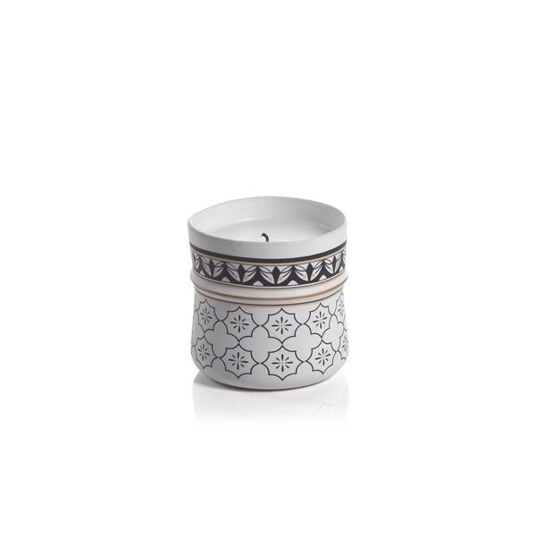 Napia Ceramic Candle Jar, White Rose