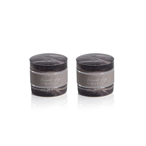 Apothecary Guild Marble Candle Jars-Black Fig Vetiver, Set of 2