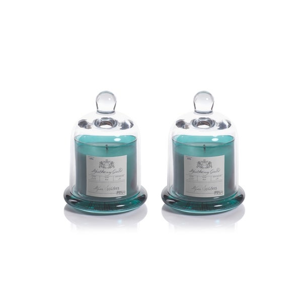 Aqua Waters Scented Candle Jar with Glass Dome Set, Small
