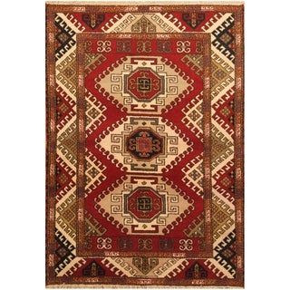 Handmade Kazak Wool Rug (India) - 4'8 x 6'7