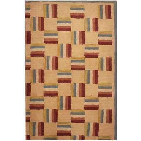 Handmade One-of-a-Kind Tibetan Wool Rug (India) - 2'6 x 4'