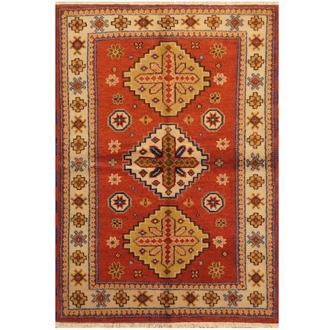 Handmade One-of-a-Kind Kazak Wool Rug (India) - 4'2 x 6'