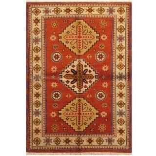 Handmade Kazak Wool Rug (India) - 4'2 x 6'