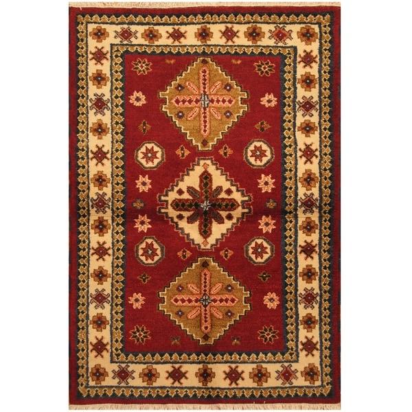 Handmade Kazak Wool Rug (India) - 4'2 x 6'1