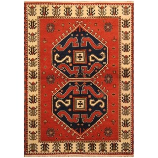 Handmade Kazak Wool Rug (India) - 4'6 x 6'6
