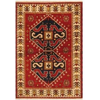 Handmade One-of-a-Kind Kazak Wool Rug (India) - 4'1 x 5'10