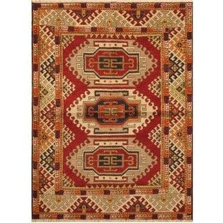 Handmade Kazak Wool Rug (India) - 4'10 x 6'7