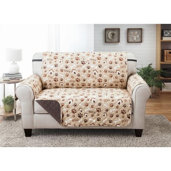 Reversible Love Seat Furniture Protector Woof Pet Print