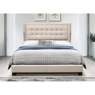 Copper Grove Chalon Tufted, Upholstered Panel Bed with Nailhead Trim