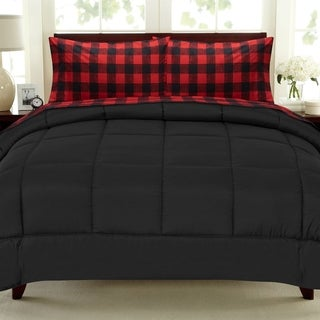 Buffalo Check  5-Piece Bed-In-a-Bag Set - Burgundy/Black