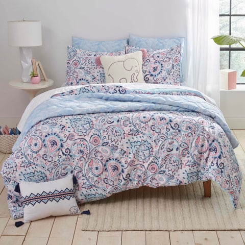 Ivory Ella Nicole Aqua Comforter Set