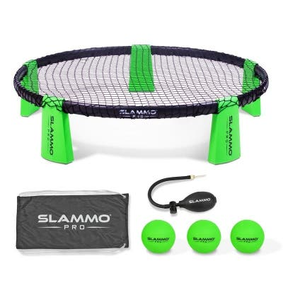 """GoSports SLAMMO PRO Game Set - New and Improved PRO Set with 3 PRO Balls, Pump and Carrying Case - Green - 35"""""""