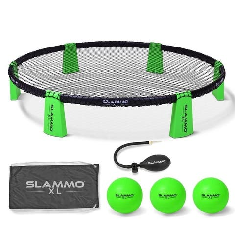 "GoSports Slammo XL Game Set Huge 48"" Net Great for Beginners, Younger Players or Group Play - Green - 3'"
