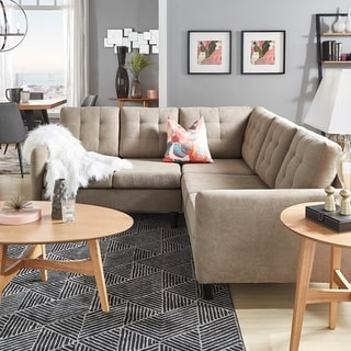 Rivers Khaki Velvet Sectional by iNSPIRE Q Modern