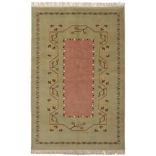 eCarpetGallery  Hand-knotted Caucasus Kula Light Green Wool Rug - 5'5 x 8'11