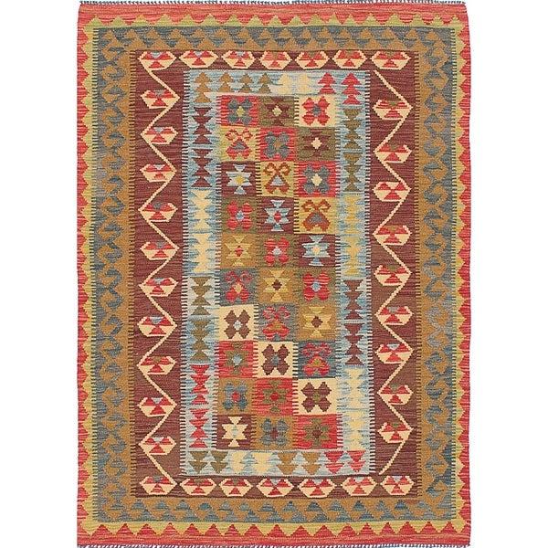 eCarpetGallery Flat-weave Hereke FW Dark Burgundy, Light Brown Wool Kilim - 4'10 x 6'9