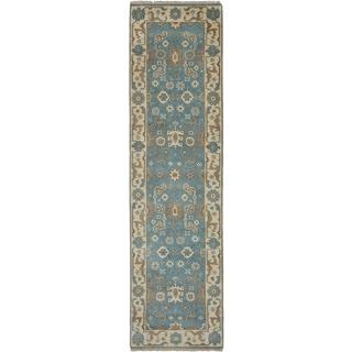 eCarpetGallery  Hand-knotted Royal Ushak Sky Blue Wool Rug - 2'8 x 9'11