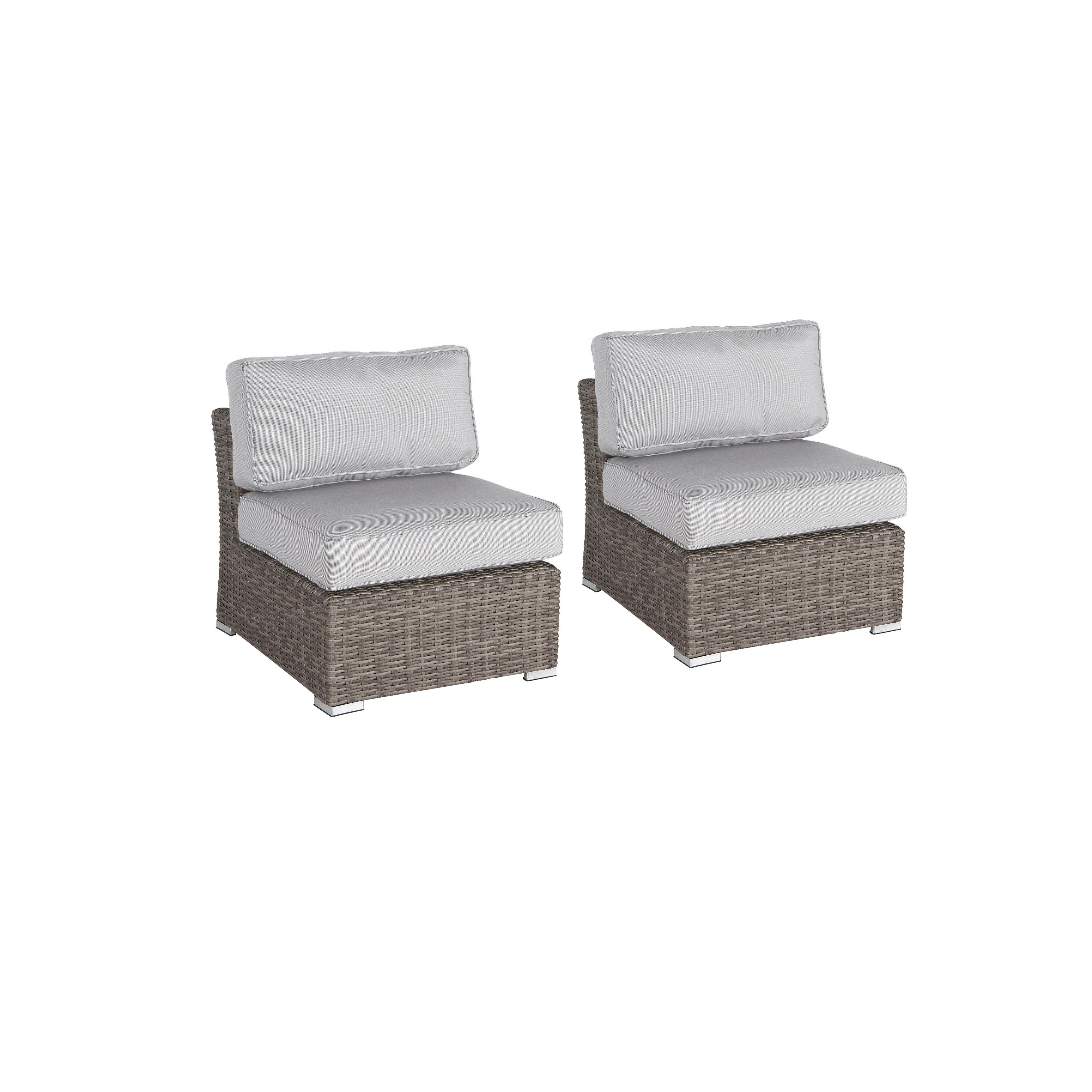 2 Piece Rattan Seating Group With Cushions Overstock 27964982