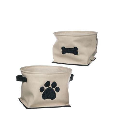 "Paw & Bone Canvas Baskets - Set of 2 - 15""L x 15""W x 9.25""H, 11""L x 11""W x 7.5""H"