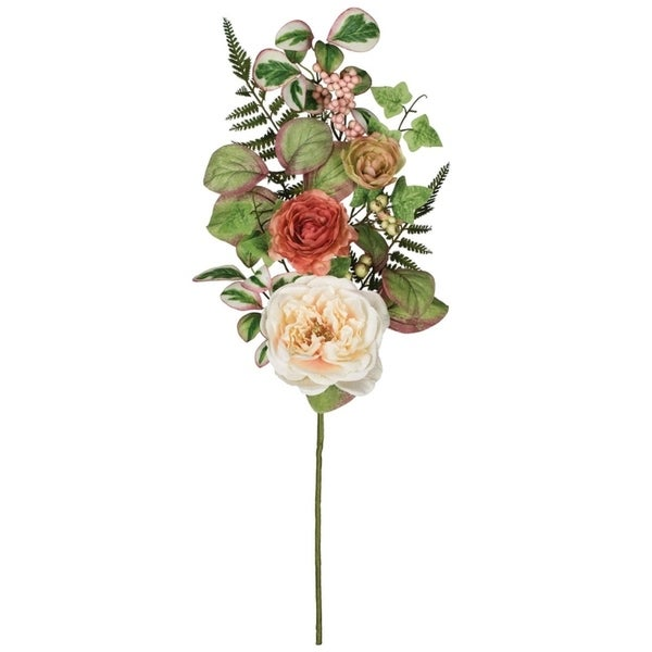 "Peony, Ranunculus, & Berry Spray - Peach - 12""L x 6""W x 27""H"