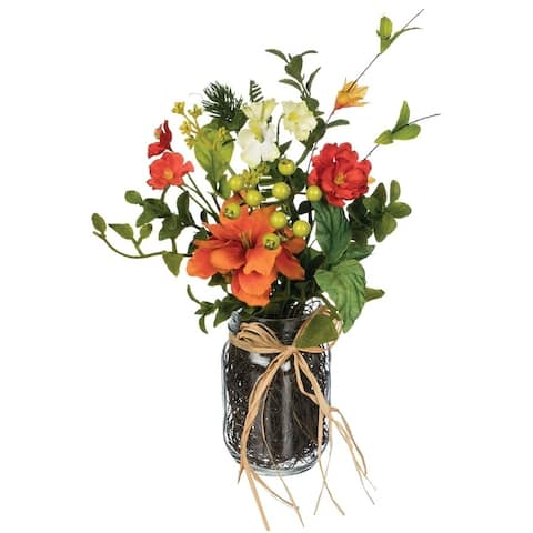 "Wildflower & Berry Premade Arrangement in Jar - Orange - 10""L x 8""W x 14""H"