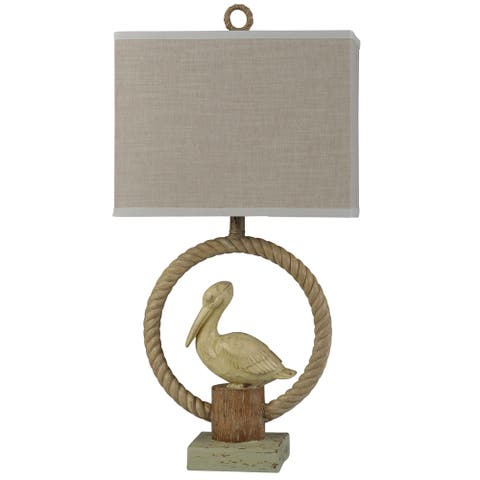Guliford Weathered Cream Rope Circle Sitting Pelican on Post Table Lamp