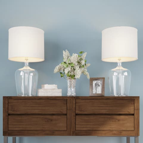 Table Lamps- Set of 2 Cloche Style Glass Modern Farmhouse Lighting, Energy Efficient LED by Lavish Home
