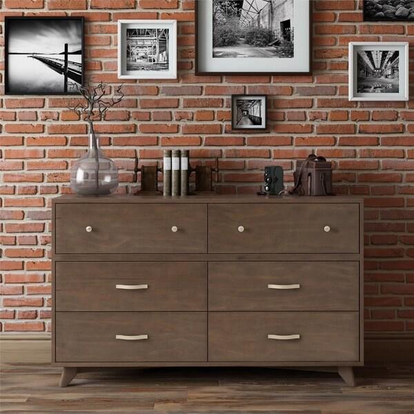 Novogratz Otis Mid-Century Modern Dark Walnut 6-Drawer Dresser