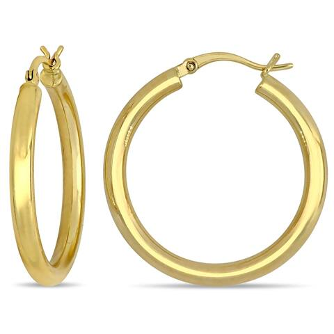 Miadora 10k Yellow Gold Classic Round Hoop Earrings (3 mm)