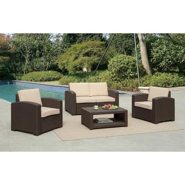 Shop Antoinette Coastal 4 Piece Sofa Set with Cushions ... on Safavieh Outdoor Living Granton 5 Pc Living Set id=72524