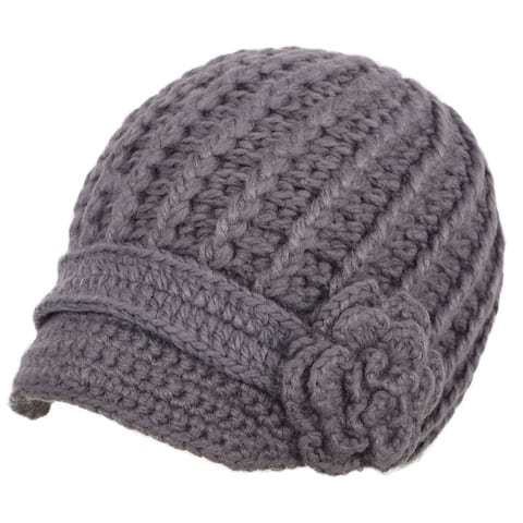 Women's Winter Knit Snow Ski Caps Hat with Visor