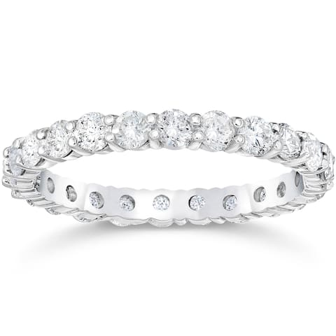 Pompeii3 14k White Gold 2 ct TDW Diamond Eternity Ring Womens Anniversary Stackablee Band Lab Grown Eco Friendly