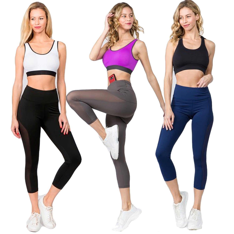Women's Active Mesh Side Workout Capri Leggings with Pocket - Overstock -  27971912