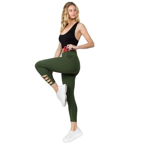 Women's Active Lattice Ankle Cutout Workout Leggings